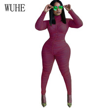 WUHE Wild Mesh Perspective Sexy Stretch Club Wine Stage Siamese Feet Trousers Jumpsuits Elegant Hollow Out Party Playsuits