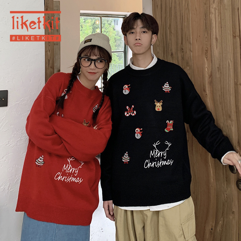 Liketkit Men's Christmas Sweaters 2019 Couples Carton Printed Casual Sweaters Male Thicken Warm Knitted Funny Lovers Pullovers