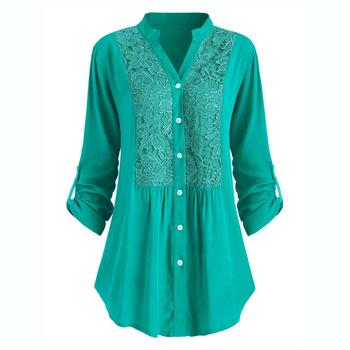 Plus Size Blouse women блузка женская Summer autumn tops and blouses Button Lace V Neck Long Sleeve shirts Free shipping #3 4