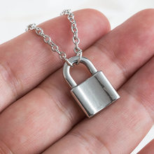 New Women Jewelry Silver Color Lock Pendant Necklace Brand New Stainless Steel Rolo Cable Chain Necklace Friendship Gifts(China)