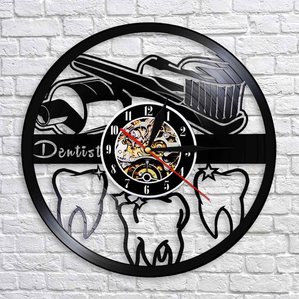 Dental Care Vinyl Record Clock Tooth Clinic Design Hanging Silent Watch Dentist Gift Wall Decorative Sign