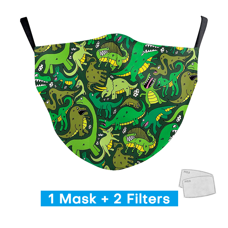 Cute Dinosaur Kids Print Masks With 2 Free Filters Children Reusable Washable Mouth Masks Personal Protection PM2.5 Face Masks