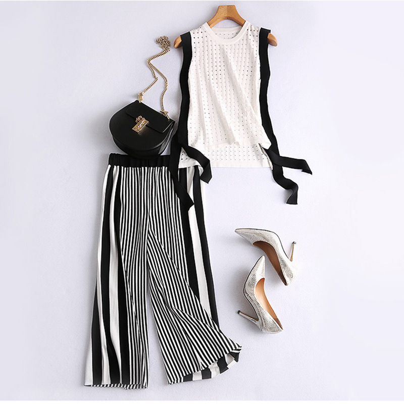 Set 2019 Summer New Products Korean-style Sleeveless Fashion Tops + Stripes Knitted Loose Pants Two-Piece Set