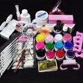 1 Set Nail Art Tool Kit Manicure Set Voor Beginners 12 Kleur UV Gel & 8 Zebra Borstel Nail Art gereedschap Base Gel Top Coat Gel Kit Hot