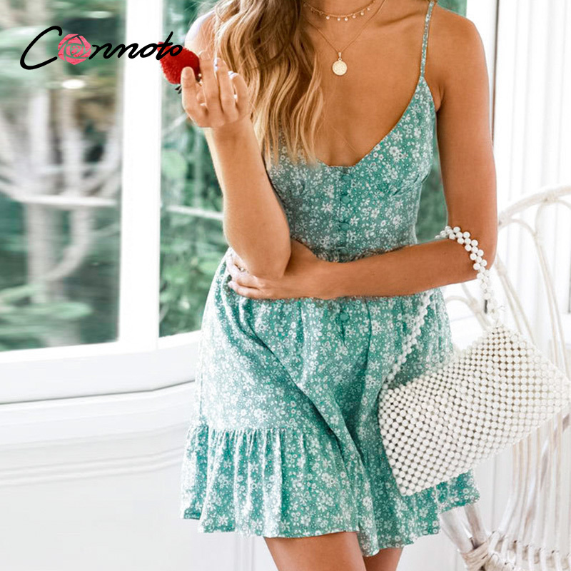Image 2 - Conmoto Ruffles Spaghetti Strap Green Women Dresses Button Female Beach Summer 2019 Dress Mini Sexy Dress VestidosDresses   -