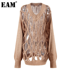 [EAM] Camel Holes Big Size Long Knitting Sweater Loose V-Neck Long Sleeve Women Pullovers New Fashion Autumn Winter 2021 1DC786