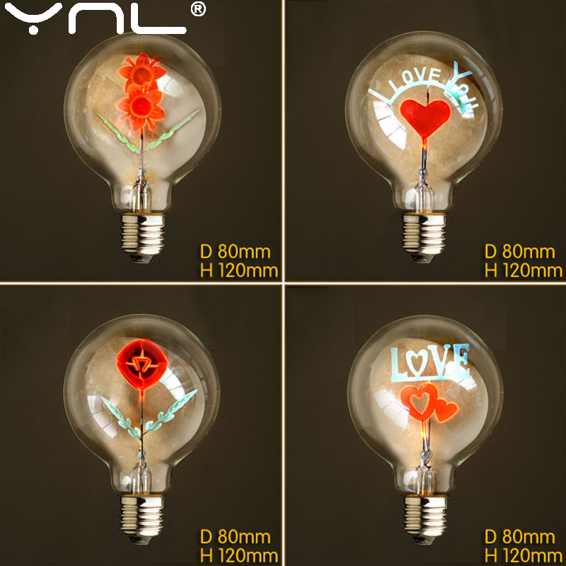 G80 Edison Bulb E27 220V Flamingo Christmas Flowers Love Rose I Love You Holiday Lights Vintage Indoor Retro Incandescent Lamp