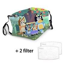 Máscara de animação bluey para crianças lavável e reutilizável para evitar a poeira protetora criança/adulto máscara pm 2.5 filtro