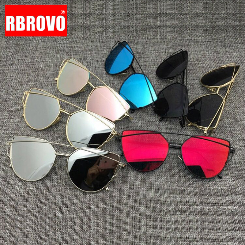 RBROVO Sunglasses Women Mirror Retro Oculos Cat-Eye Metal Vintage Brand Designer