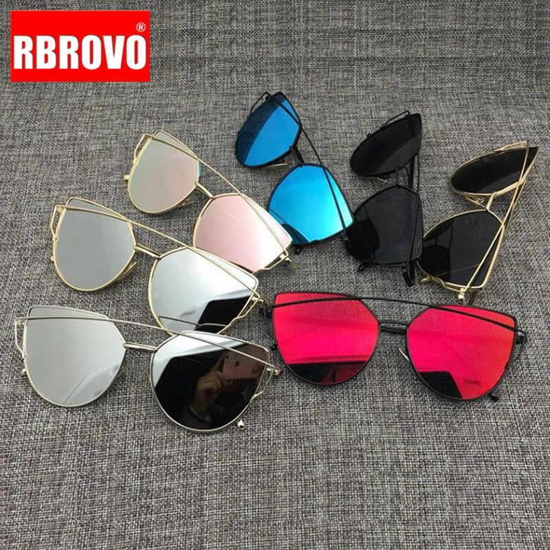 RBROVO 2020 Thương Hiệu Thiết Kế Mắt Mèo Kính Mát Nữ Vintage Kim Loại Mắt Kính Phản Quang Cho Nữ Tráng Gương Retro Oculos De Sol Gafas