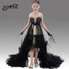 Черное Кружевное Пышное Платье ht106 блестящее платье с оборками