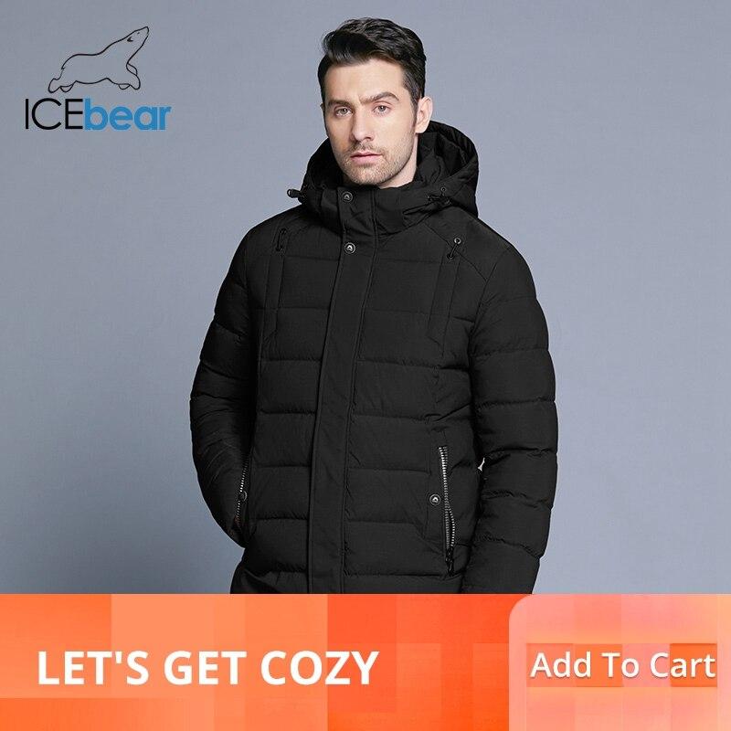 ICEbear 2019 dei nuovi uomini di rivestimento caldo di inverno staccabile cappello maschile breve cappotto di moda casual abbigliamento uomo abbigliamento di marca MWD18813D-in Parka da Abbigliamento da uomo su  Gruppo 1