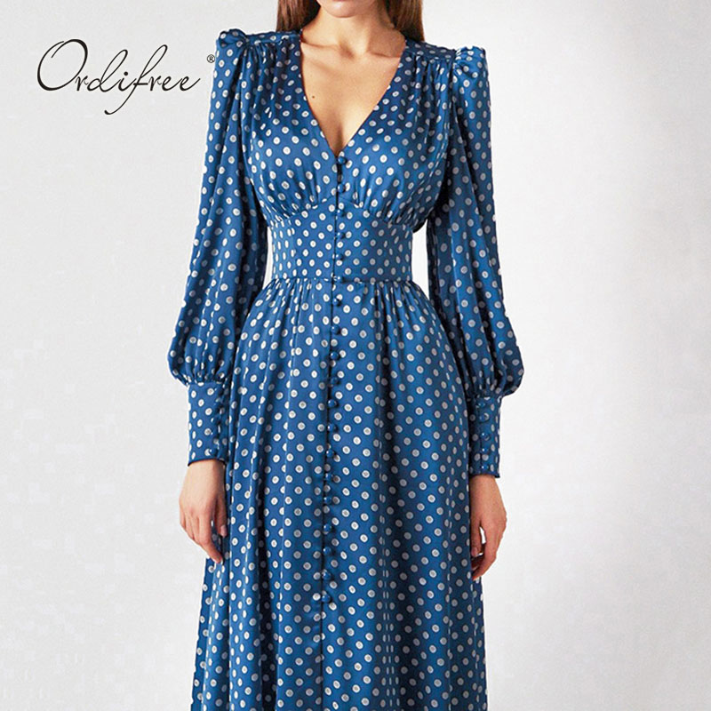 Ordifree 2021 Spring Autumn Women Polka Dot Satin Dress Vintage Shiny Silk Slit Party Midi Dress Women Women's Clothings Women's Dresses cb5feb1b7314637725a2e7: Dark Blue|Light blue