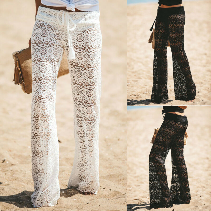 2019 Women Crochet Beach Wide Leg Pants See Through Swimwear Bikini Cover Up Lady Sexy Hollow Out Long Trousers