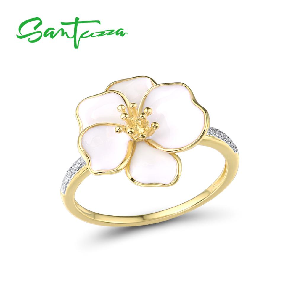 SANTUZZA Silver Rings For Women Genuine 925 Sterling Silver Delicate White Orchid Flower Trendy Fine Jewelry Handmade Enamel