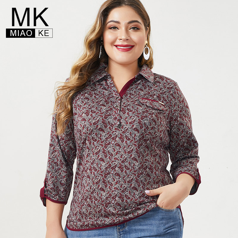 MK 2019 Autumn Winter  Womens Plus Size Long Sleeve Tops And Blouses Fashion Ladies Femal Vintage Print Floral Shirts