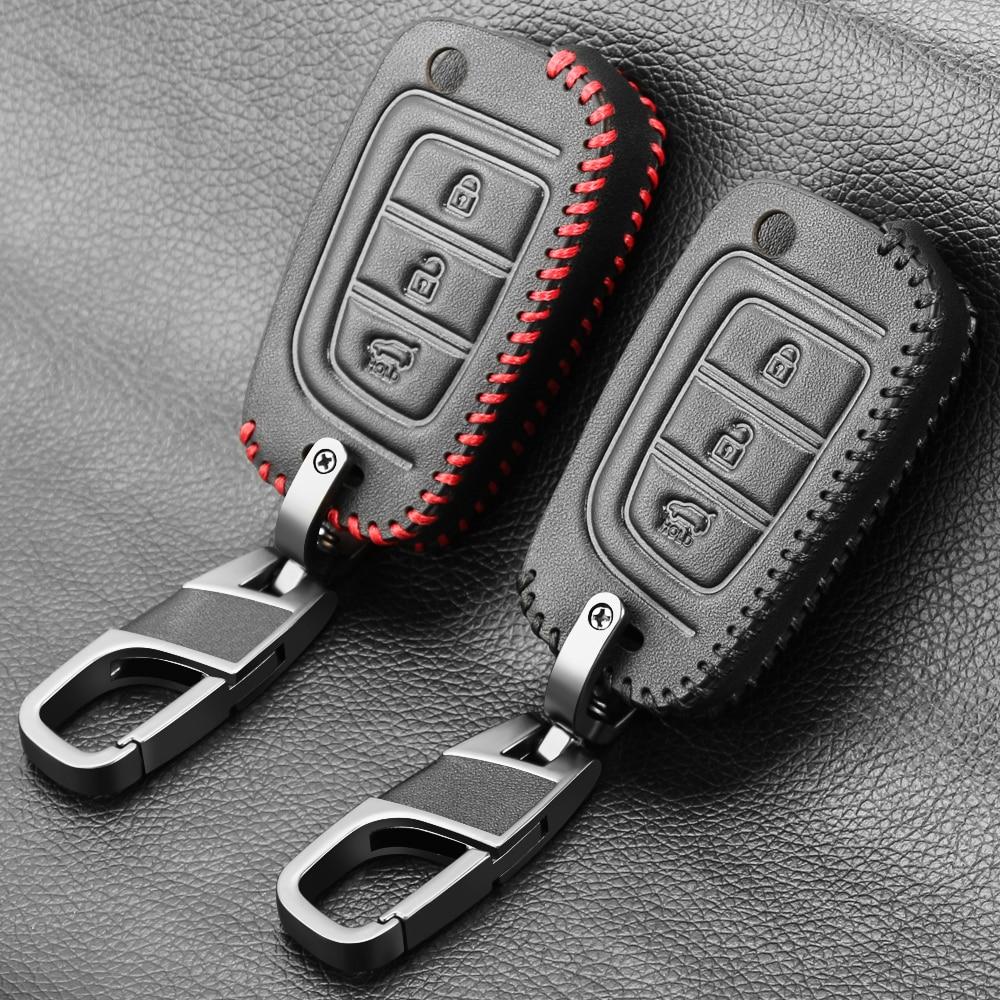 Couro genuíno caso chave do carro capa para hyundai elantra solaris 2016 2017 2018 2019 2020 3 botões de dobramento remoto chaves escudo
