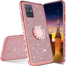 Luksusowe etui do Samsung Galaxy A32 A42 A52 A72 A12 A21S A51 A71 A31 M30S M31 M21 A30 A30S A50 A70 S20 FE S21 Plus uwaga 20 bardzo tanie tanio AKTIMO CN (pochodzenie) Częściowo przysłonięte etui Diamond Bling Cover Case ZDOBIONE Zwykły przezroczyste Diamond Bling Soft Ring Phone Case For Samsung Galaxy