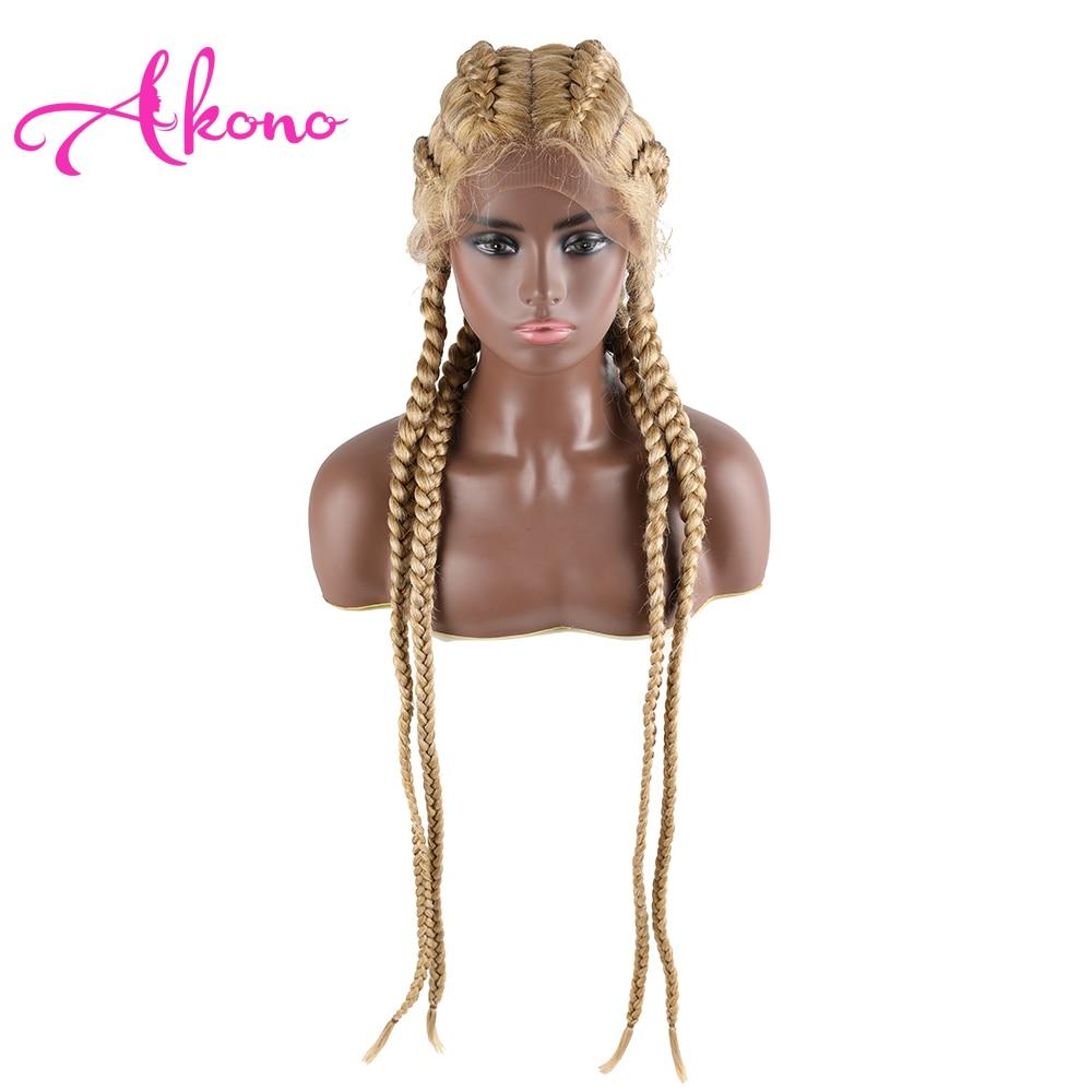 Akono 30 polegada trançado perucas do laço sintético peruca dianteira do laço para preto feminino tranças de cornrow perucas do laço com caixa de cabelo do bebê trança peruca