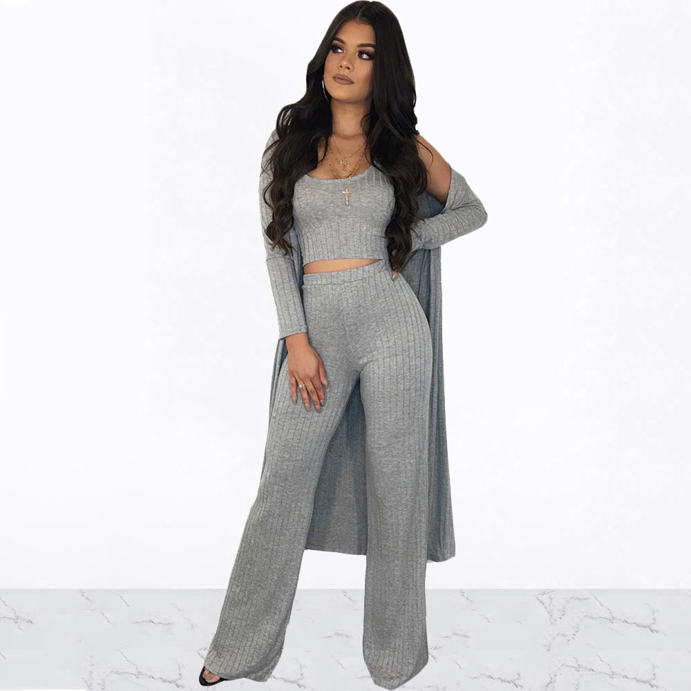 Women Sexy Sleeveless Tank Crop Top With Leg Waist Pants + Long Sleeve Cardigan Coat 3 Piece Set Solid Color Casual Knitted Suit