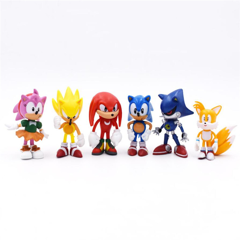 6 pièces/ensemble 7cm figurines sonores jouet Pvc jouet Sonic ombre queues personnages Figure porte-clés jouets pour enfants animaux ensemble de jouets