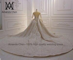 Image 3 - Свадебные платья для невесты 2020 роскошное свадебное платье с длинным рукавом и бисером