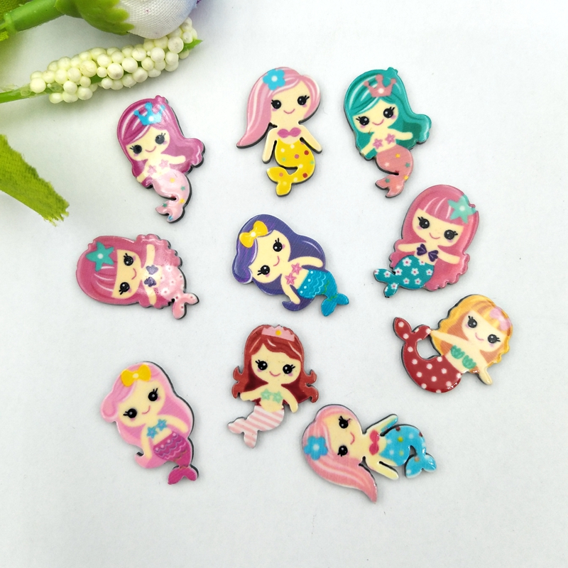 20pcs Lovely Colorful Mix Various Mermaid For Home Wedding Decor Crafts Making Scrapbooking DIY Hair Bow Center