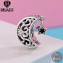 BISAER Authentic 925 Sterling Silver Moon and Star Openwork Charm Beads fit Women Charm Bracelet Sterling Silver Jewelry GXC483 bisaer authentic 925 sterling silver openwork heart gift box charms fit for women 3mm bracelet and necklace fine jewelry gxc1029