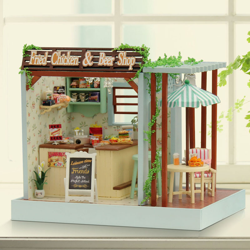 Assemble Miniature Dollhouse Fried Chicken & Beer Shop DIY Doll House Handmade Crafts Creative Wooden Kids Grownups Puzzle Toys 2