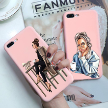 For iPhone 7 8 Plus X XR Fashion Black Brown Hair coffee girl Boss Soft TPU Case iPhone11Pro MAX Matte Pink silicone