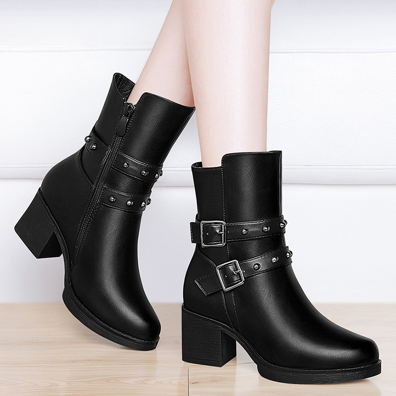 Gucci Tianlun Martin Boots Women's British-Style Tube Leather Boot 2019 Autumn & Winter New Style Boots Knight Boots Mom Shoes