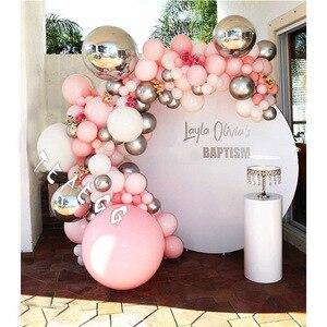 129 шт., 18 шаров на день рождения, гирлянда, арка, для взрослых, для помолвки, макарон, пастельный, розовый, серебряный, Круглый фольгированный б...