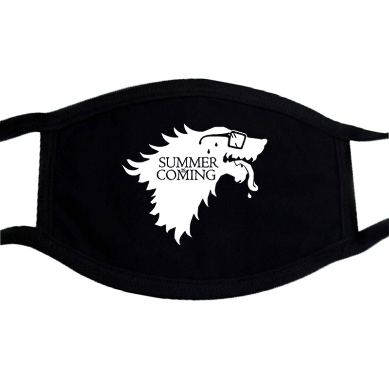 Game Of Thrones And Vikings Print Mask Washable Black Casual Warm Dustproof Masks Cotton Cartoon Lovely Mouth Muffle Face Mask