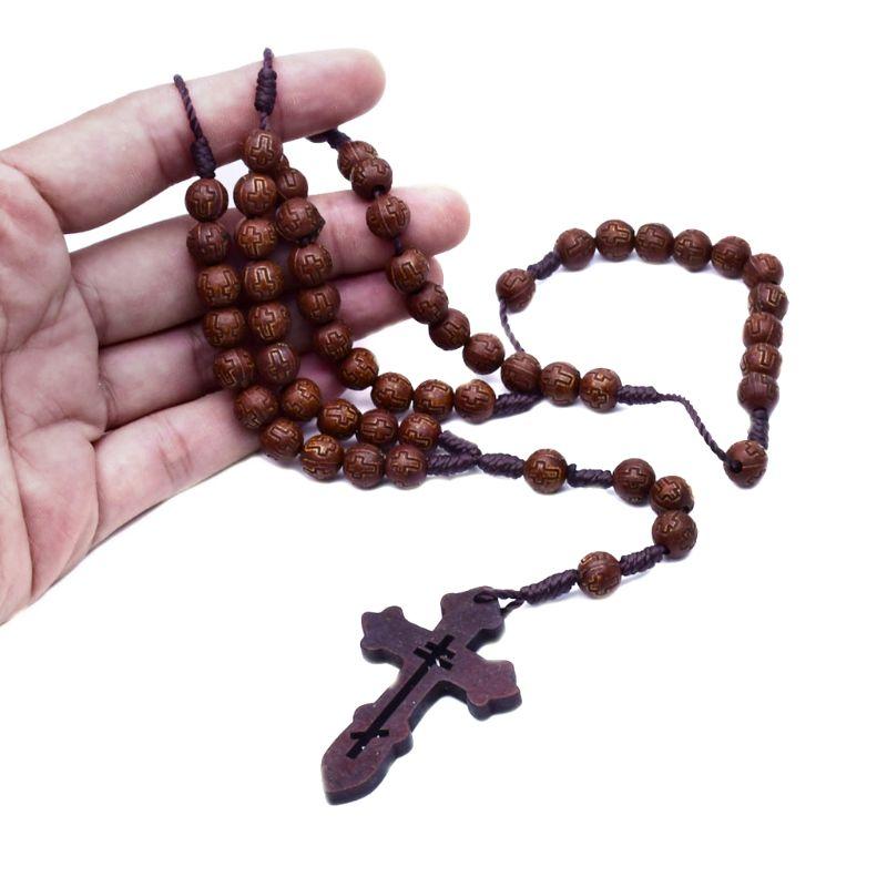 Chapelet catholique fait à la main pour hommes | Collier perlé avec pendentif, chaîne religieuse breloque D08F