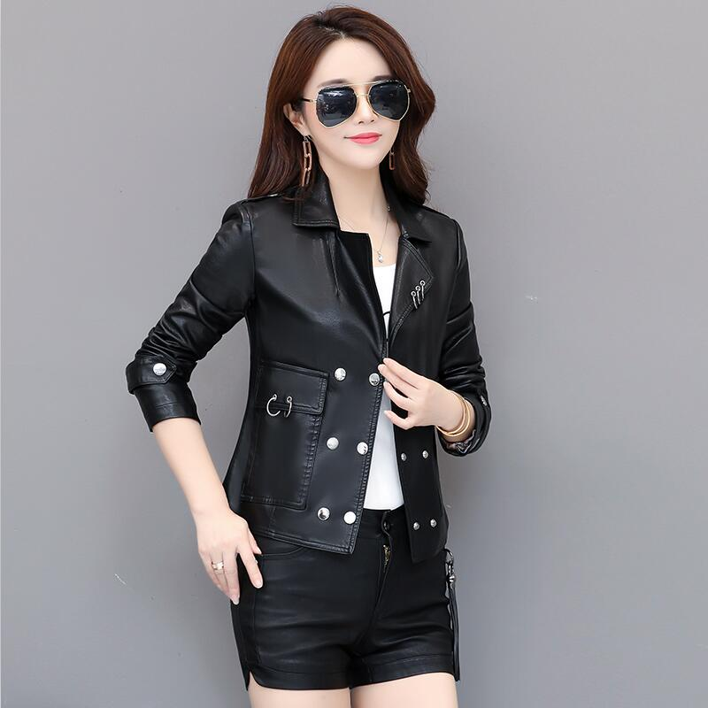 Spring And Autumn   Leather   Coat Women 2019 New Women   Leather   Jacket Short Slim Motorcycle   Leather   Clothing Female Outerwear