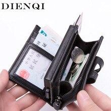 DIENQI tarjetero de cuero anti Rfid con tres pliegues para hombre, cartera negra Vintage, monedero corto