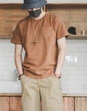 Maden – T-shirt manches courtes pour homme, uni, décontracté et rétro, avec lettres brodées, plante naturelle, teint en thé, Ami Kaji