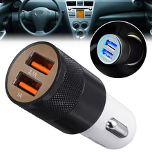 цена на MAYITR 12V Car Dual USB Charger Mini Cigarette Lighter 2 Twin Port USB Plug Universal for Car Lighter Socket Charger Adapter