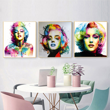 Marilyn Posters Sexy Women Abstract Watercolor Pictures Canvas painting Colorful Wall Art Decorative Prints Home Decor NO FRAME