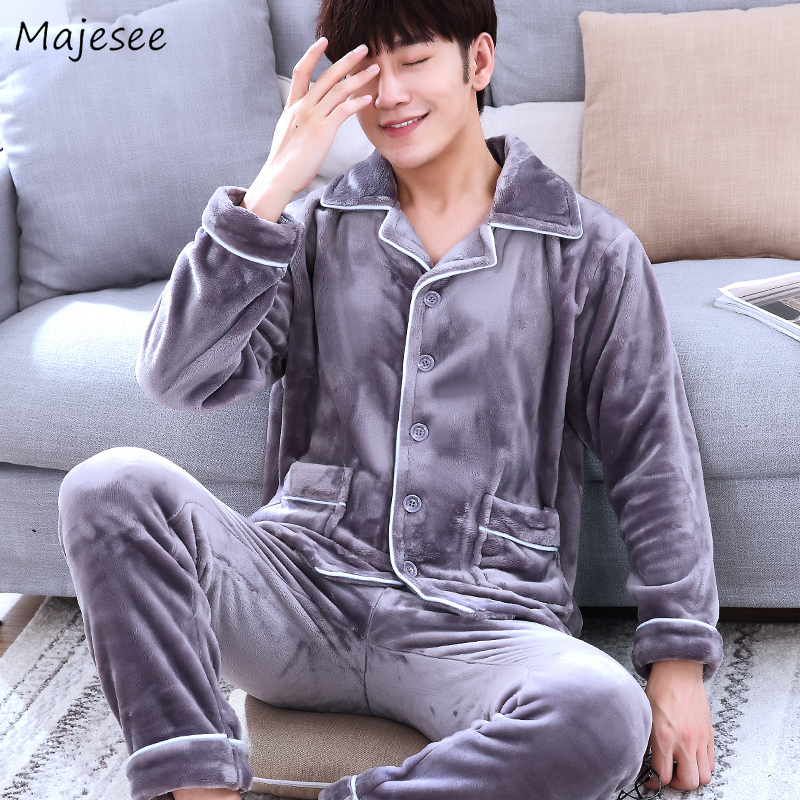 Pajama Sets Men Solid Simple All Match Winter Home Clothes Mens Pajamas Korean Style New Fashion Plus Size Autumn Long Sleeve