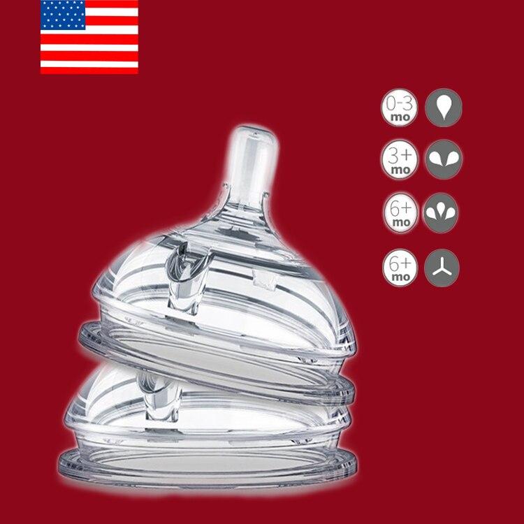 Mamilo de bebê silicone substituição teat em fluxo variável para idades 0-3 m 3-6 m/12 m (2-pacote), mamilos para comotomo