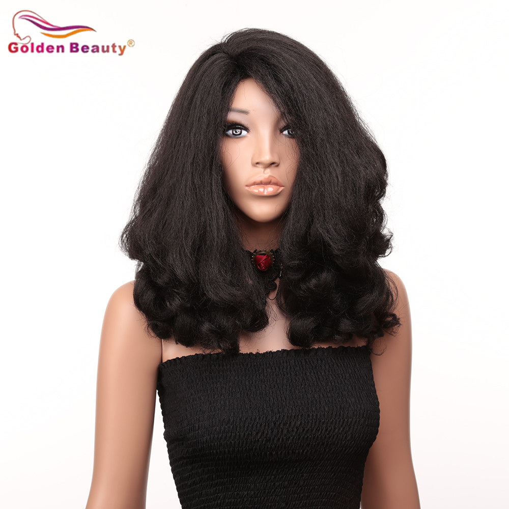 20inch Afro Body Wave Wig Synthetic Medium Length Hair Wig For Black Women Heat Resistant Fiber Cosplay Wigs Black Golden Beauty