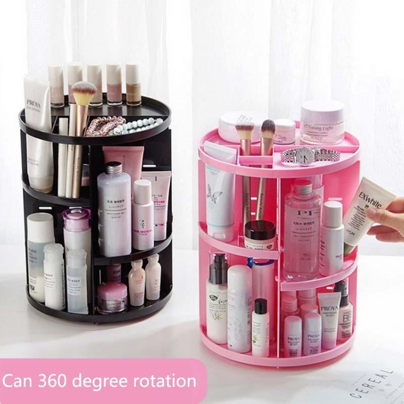 Nouveau 360 degrés rotatif maquillage organisateur porte-brosse bijoux organisateur étui bijoux maquillage cosmétique boîte de rangement étagère