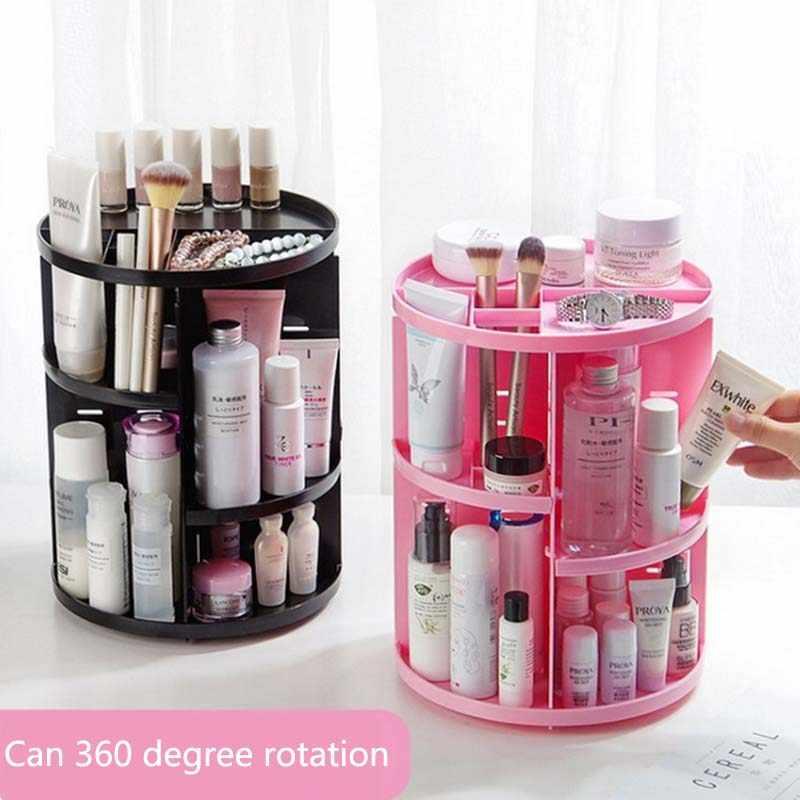 Nuevo organizador de cepillos giratorios de 360 grados para maquillaje, organizador de joyas, caja de almacenamiento para cosméticos