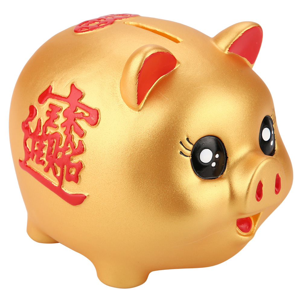 Cute Golden Cartoon Pig Shaped Money Boxes Children Toys Birthday Gift Home Decor Money Saving Boxes Pig Bank Coins Storage Box