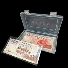 100 pces papel dinheiro álbum moeda caixa de notas titular armazenamento coleção com caixa