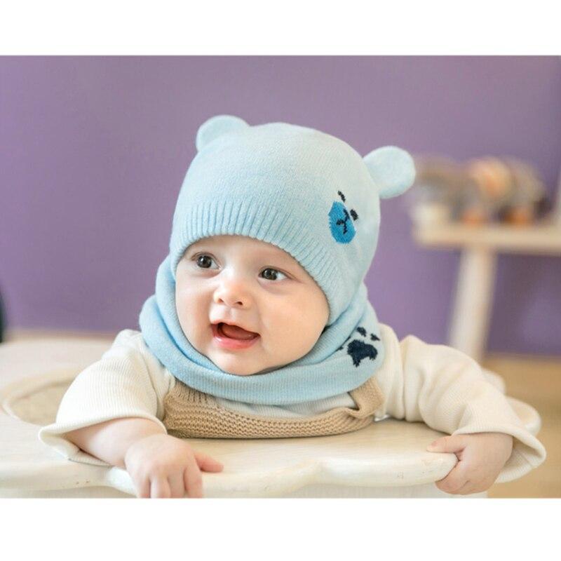 Newly Baby Winter Caps Scarf Suits Warm Knitted Beanie Cap Cute Cartoon Bear Beanie