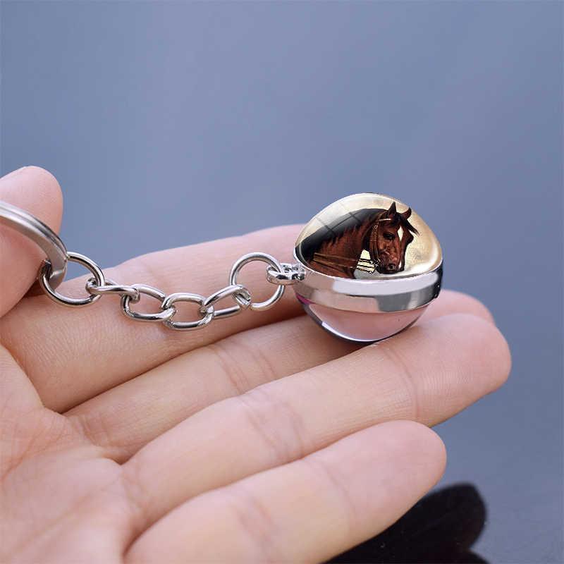 الحصان المفاتيح مزدوجة من جانب كرة زجاجية المفاتيح الأحمر براون الحصان رئيس الفن حلية مجوهرات الحصان الحيوان كيرينغ