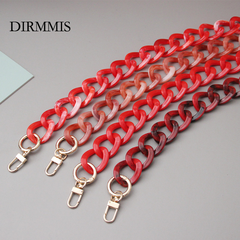 New Fashion Woman Bag Accessory Detachable Replacement Chain Solid Red Acrylic Luxury Strap Women Shoulder Clutch Handle Chain