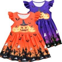 Baby Girls Princess Halloween Pumpkin Bat Skeleton Printed Flying Sleeve Dress Party Costume Clothes